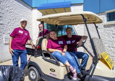 Staff Volunteer on cart