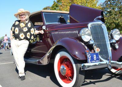 Joan Liska with car