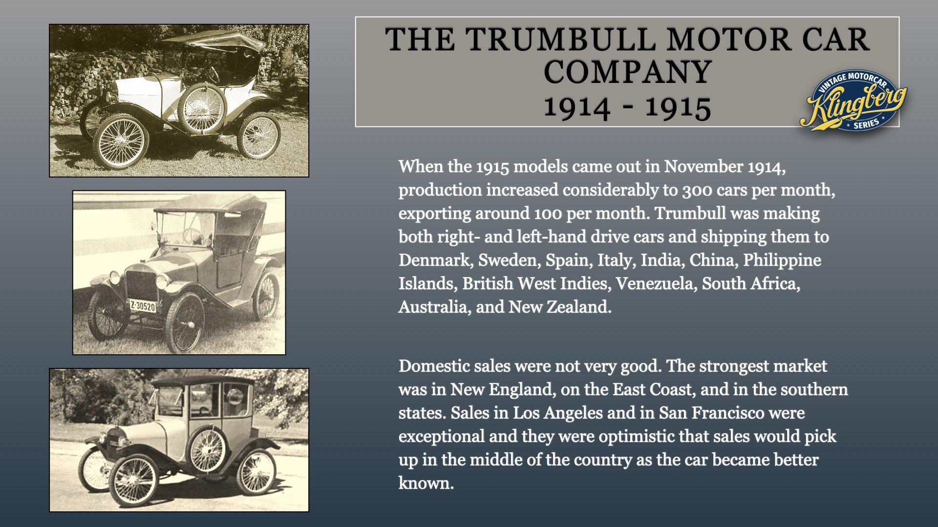 Trumbull Motor Car Sales 1915