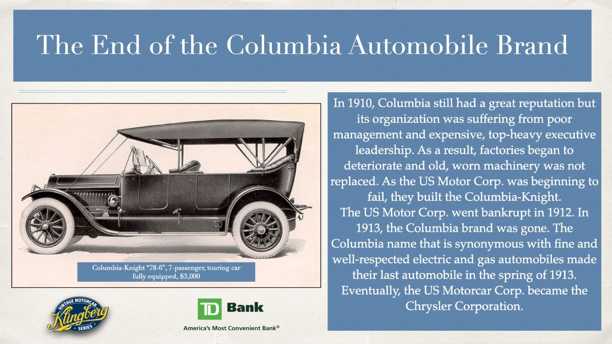 End of Columbia Automobile brand